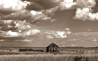 Old Montana Homestead Sepia Print by Chalet Roome-Rigdon