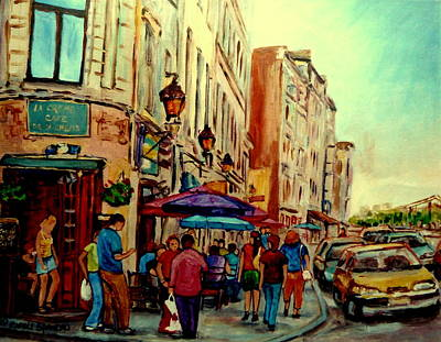 Montreal Street Life Painting - Old Montreal Cafes by Carole Spandau