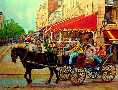 Montreal Street Life Painting - Old Montreal Restaurants by Carole Spandau