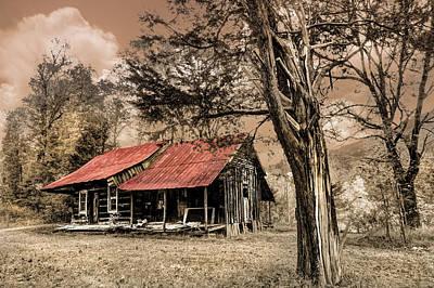 Old Mountain Cabin Print by Debra and Dave Vanderlaan