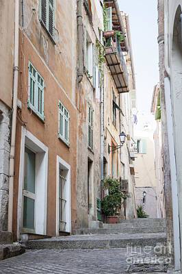 Old Narrow Street In Villefranche-sur-mer Print by Elena Elisseeva