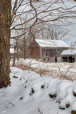Classic New England Barns Photograph - Old New England Winter 2016 by Bill Wakeley