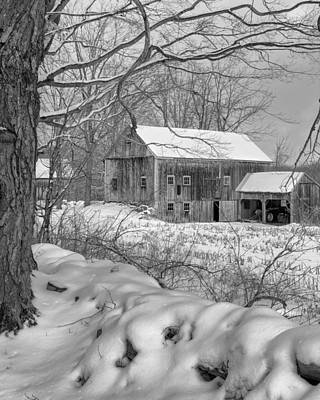 New England Barns Photograph - Old New England Winter 2016 Bw by Bill Wakeley