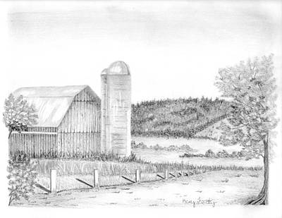 Old Barn Drawing - Weathered Barn  by Kerry Facey