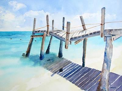 Pylon Painting - Old Pier On Playa Paraiso by Carlin Blahnik