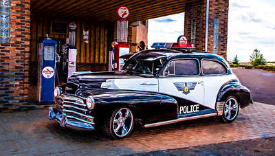 Old Police Cruiser Print by Sharon Vallentiny