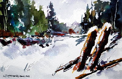 Old Posts In Snow Print by Wilfred McOstrich
