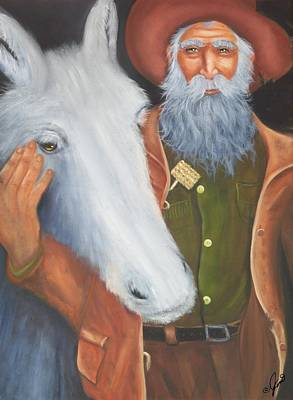 Old Prospector And Friend Print by Joni McPherson