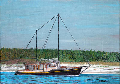 Penobscot Bay Painting - Old Pung In Maine by Laurence Dahlmer