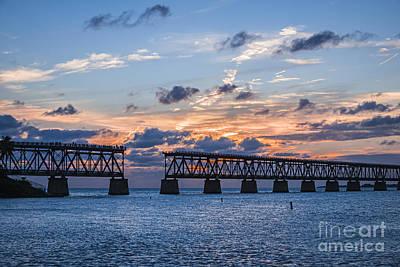 Old Rail Bridge At Florida Keys Print by Elena Elisseeva