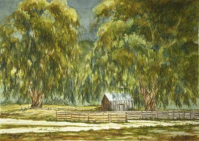 Early California Landscape Painting - Old Ranch Shed by Candace Bell