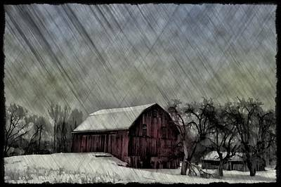 Barn Photograph - Old Red Barn In Winter by Bill Cannon