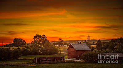 Old Red Barn Print by Robert Bales