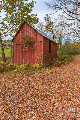 Fall Foliage Photograph - Old Red Barn Woodstock Vermont by Edward Fielding