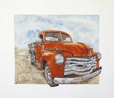 Jana Painting - Old Red Chevy by Jana L Bussanich