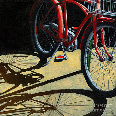 Realism Photograph - Old Red Classic - Bike Painting by Linda Apple
