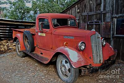 Salvage Photograph - Old Red Dodge Truck by Anthony Jones