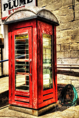 Old Phone Booth Photograph - Old Red Phone Booth by Kaye Menner