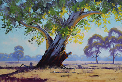 Tree Traditional Art Painting - Old River Gum Australia by Graham Gercken