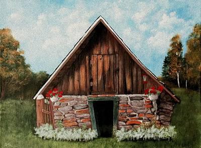 Stone Buildings Painting - Old Root House by Anastasiya Malakhova