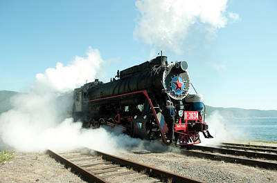 Old Russian Train On Bajkal Print by Tamara Sushko