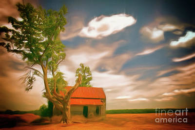 Old Rustic Vintage Farm House And Tree Ap Print by Dan Carmichael