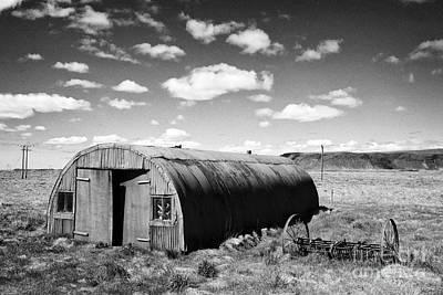 Old Rusting Nissen Hut Outbuilding On Farmland At Hraungerdi Southern Iceland Print by Joe Fox