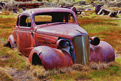 Ghost Town Photograph - Old Rusty Car Bodie Ghost Town by Garry Gay