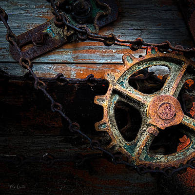 Abstract Photograph - Old Rusty Gear And Chain by Bob Orsillo