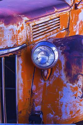 Broken Down Truck Photograph - Old Rusty Truck Headlight by Garry Gay