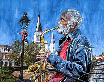 Garden Scene Painting - Old Sax Player In Jackson Square by John Boles