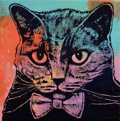 Old School Cat Print by Michael Creese