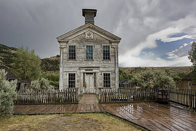 Old School House After Storm - Bannack Montana Print by Daniel Hagerman