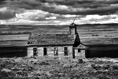 Old Schoolhouse Photograph - Old School House Bickelton Wa Black And White by Jeff Swan
