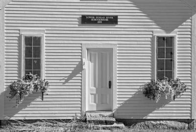 Old Schoolhouse Sunday River Maine Black And White Print by Keith Webber Jr