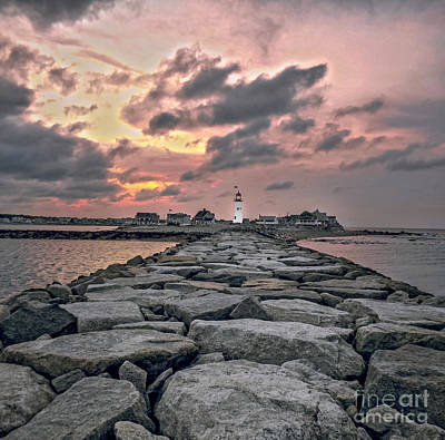 New England Lighthouse Digital Art - Old Scituate Light At The End Of The Jetty by Charlie Cliques