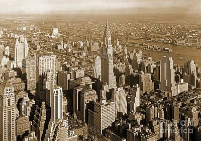 Famous Residents Painting - Old Sepia Print Of Manhattan New York Accented With The Chrysler Building by Pd