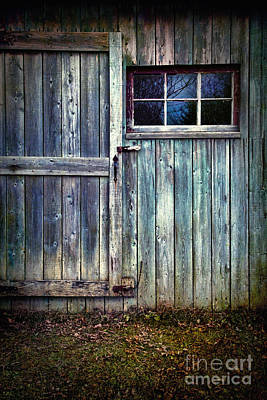 Old Shed Door With Spooky Shadow In Window Print by Sandra Cunningham