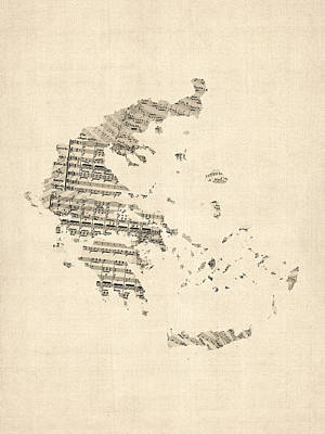Greece Digital Art - Old Sheet Music Map Of Greece Map by Michael Tompsett
