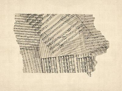 Old Sheet Music Digital Art - Old Sheet Music Map Of Iowa by Michael Tompsett