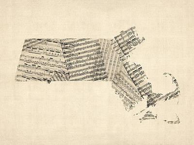 Old Map Digital Art - Old Sheet Music Map Of Massachusetts by Michael Tompsett