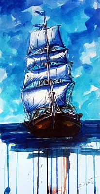 Old Ship Sailing Print by Zlatko Music