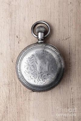 Gentleman Photograph - Old Silver Pocket Watch Back by Edward Fielding