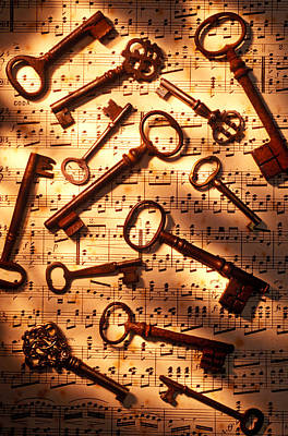 Keys Photograph - Old Skeleton Keys On Sheet Music by Garry Gay
