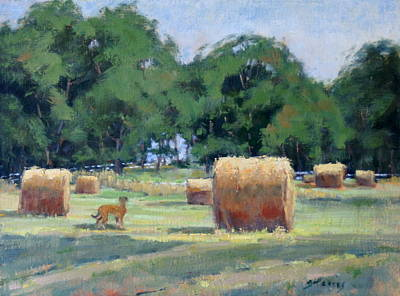 Haybale Painting - Old Smyrna Farms by Sandra Harris