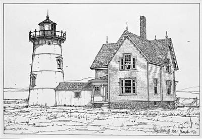 Old Stage Harbor Lighthouse Cape Cod Original by Ira Shander
