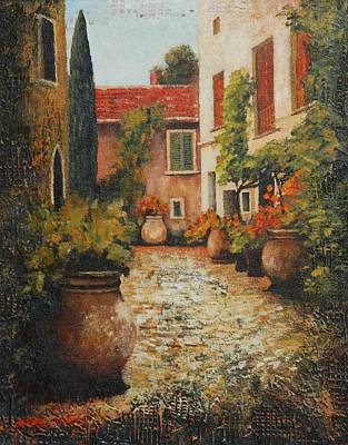 Old Street Of Provence Print by Santo De Vita