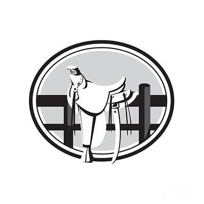 Concho Digital Art - Old Style Western Saddle On Fence Oval Black And White by Aloysius Patrimonio