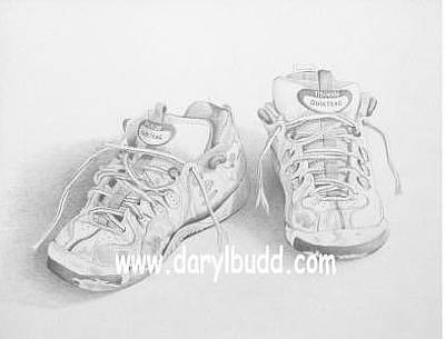 Tennis Shoe Drawing - Old Tennis Shoes by Daryl Budd