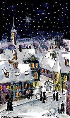 Old Street Painting - Old Time Winter by Mona Edulesco